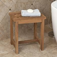 unstained teak wood shower bench with plaid pattern seat and h