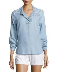 denim blouses frame tie back collared denim blouse rowan neiman