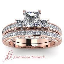Gold Diamond Wedding Ring Sets by Princess Cut U0026 Round Diamonds 14k Rose Gold Wedding Ring Set In