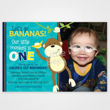 monkey first birthday invitation customized with your photo
