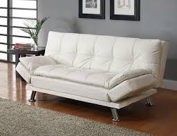 white leather futon sofa white finish leather like vinyl folding futon sofa bed with chrome