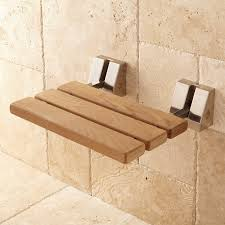 Bathroom Shower Bench Wall Mount Teak Folding Shower Seat Bathroom