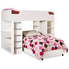 bedroom white low kids bunk bed with storage and drawers l