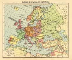 antique map world second world war europe showing air distances occupied poland