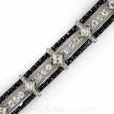 onyx bracelet with diamonds images Platinum and onyx art deco bracelet with french cut diamonds jpg