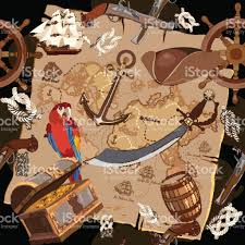 Old Treasure Map Old Pirate Treasure Map Seamless Pattern Treasure Chest Parrot