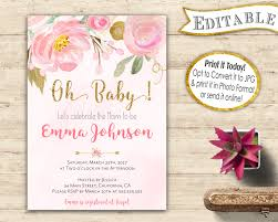 oh baby shower editable invitation instant download editable