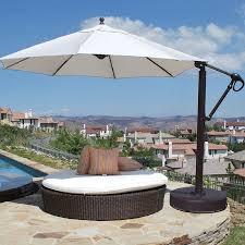 11 Patio Umbrella Galtech Sunbrella Easy Tilt 11 Ft Offset Umbrella With Wheeled