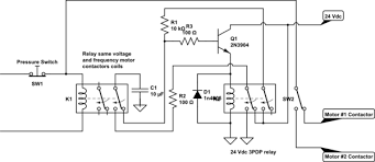 relay interchangeable operation of two electric motors without
