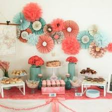 coral baby shower coral and teal themed wedding dessert table baby shower colors