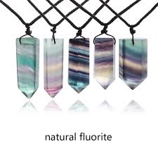 crystal stone pendant necklace images Random send 1 pc natural fluorite quartz crystal wand pendant jpg