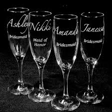 personalized glasses wedding 4 personalized bridesmaid gifts personalized chagne glasses