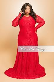 final sale seasonal plus size lace gown with long sleeves in red
