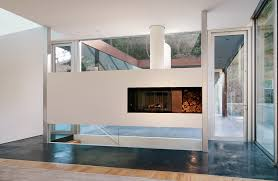clean glass fireplace doors bridge house stylish home design by stanley saitowitz natoma