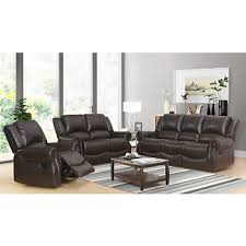 abbyson living 3 pc faux leather reclining set dark brown