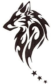 black 3 with tribal wolf design stencil