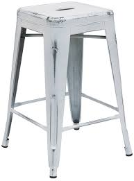 Counter Height Outdoor Bar Stools High Backless Distressed Metal Indoor Outdoor Bar Stool 9 Colors