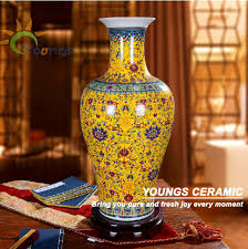 Wholesale Flower Vase Decorative Unique Chinese Big Floor Blue Ceramic Flower Vases