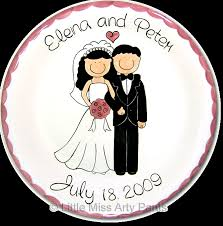 personalized wedding plate miss arty personalized pottery happy wedding