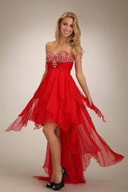 buy tailor made sheath sweetheart chiffon high low red prom