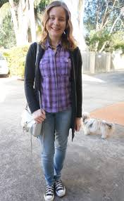 Skinny Jeans And Converse Black Belted Maxi Cardigan Purple Plaid Shirt Skinny Jeans