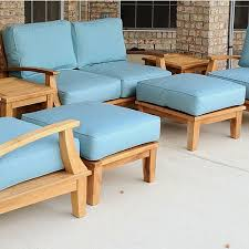 Patio Chair Cushions On Sale Decorating Comfortable Sunbrella Cushions In Blue On Wooden Sofa