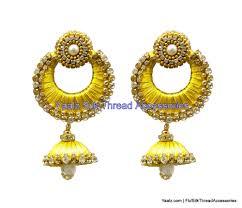 jhumka earring yaalz chand bali jhumka earring with gold zari work in mustard