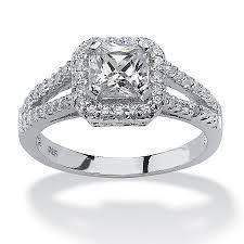 diamond rings zirconia images Tcw princess cut cubic zirconia engagement ring in platinum over