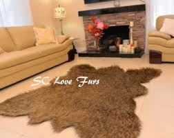 Faux Fur Area Rugs Grizzly Brown Bear Rug 5 X 6 Realistic Shape Faux Fur Area Rug