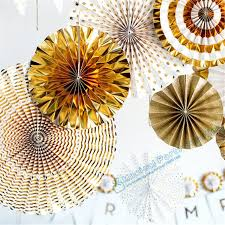 paper fan backdrop online shop 2 sets 16pcs gold glitter paper fan backdrop gold