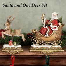 decor lovable santa clause with one reindeer for fireplace