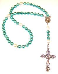 rosary kits cerulean glass pearl beaded rosary kit