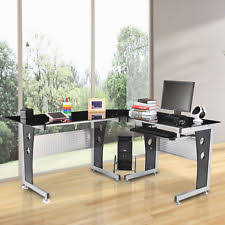 Modern L Shaped Computer Desk Homcom 64 Modern L Shaped Glasstop Office Workstation Computer
