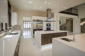 open plan kitchen with two islands and prep area contemporary