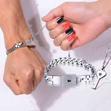 titanium bracelet cuff images Agate bead and titanium key lock lover 39 s bracelets price for a jpg
