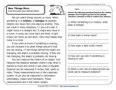 how things move 2nd grade reading comprehension worksheets