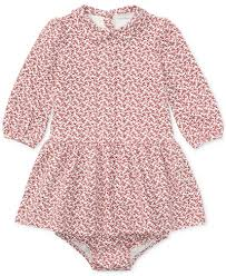 ralph lauren floral print long sleeve dress baby girls 0 24