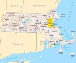 large map of massachusetts state with roads highways relief and