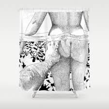 black white and people shower curtains society6