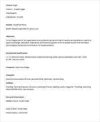 Sample Resume For Iti Electrician by 40 Fresher Resume Examples