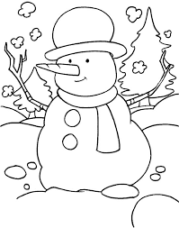 funny snowman snowy field scarf hat coloring