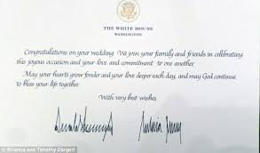 wedding wishes letter chicago newlyweds get letter from donald and melania daily