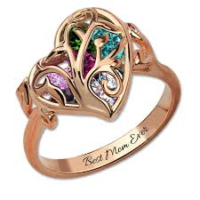 mothers rings images Cutomized birthstone cage ring rose gold color family tree jpg