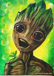 live baby groot guardians of the galaxy 2 beginners learn to paint