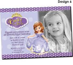 1st Birthday Invitation Card Samples Sofia The First Birthday Invitations Kawaiitheo Com