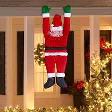 amazon com gemmy outdoor decor santa hanging from gutter