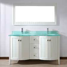 bridgeport 60 inch white modern bathroom vanity mint green glass top