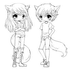 cute anime chibi cat girls coloring page for pages itgod me