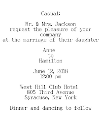 casual wedding invitation wording wedding invitations wording sles for different hosting situations