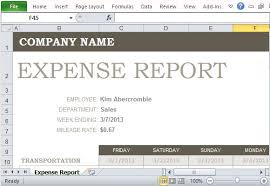 Detailed Expense Report Template by Free Expense Report Template For Excel